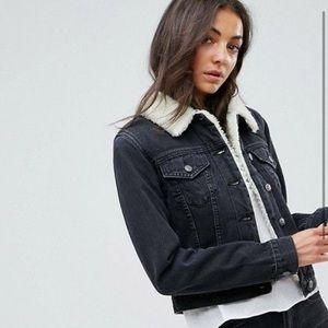 ASOS tall shrunken borg denim jacket in black